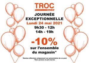 Troc Richwiller est heureux de vous retrouver et vous offre -10% sur TOUT LE MAGASIN* ce lundi 24/05/21 de 9h30/12h et 14h/19h (*hors promo)